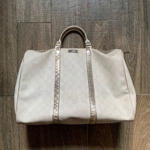 Gucci White Monogram Canvas Top Handle Bag